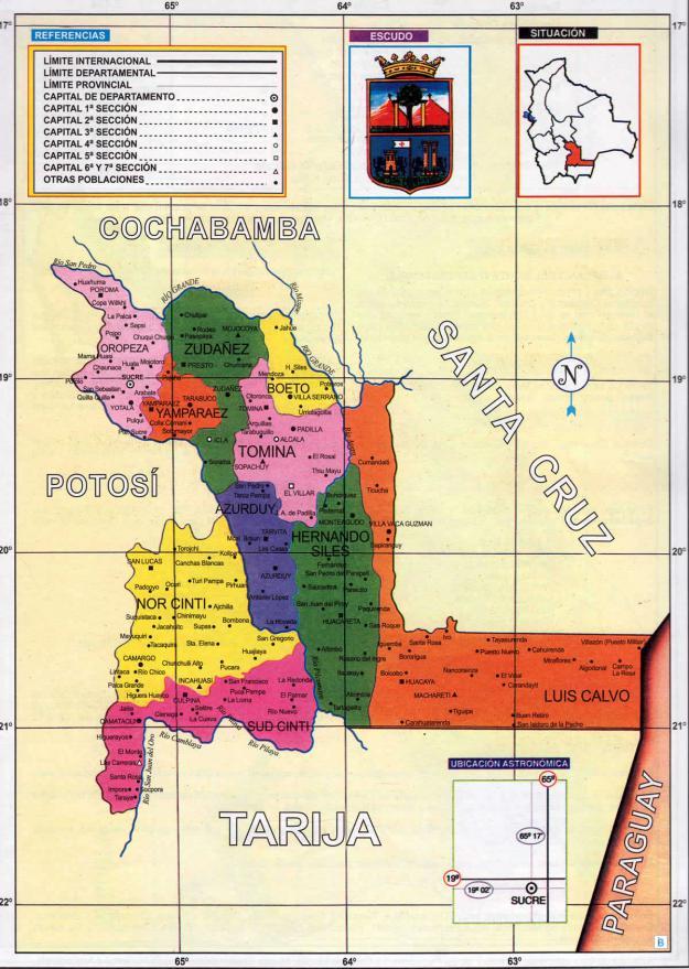 Mapa Político Departamento de Chuquisaca Bolivia - Mapas de Bolivia