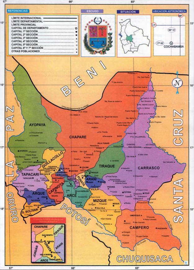 Mapa Político Departamento de Cochabamba - Mapas de Bolivia