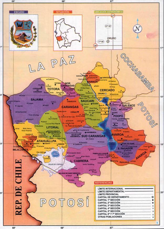 Mapa Político del Departamento de Oruro - Mapas de Bolivia