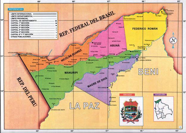Mapa Político del Departamento de Pando - Mapas de Bolivia