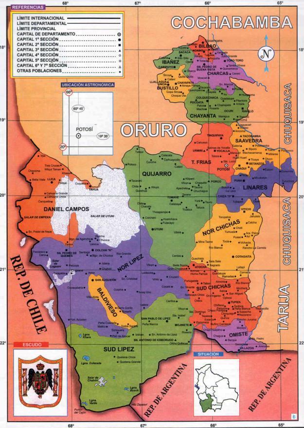 Mapa Político del Departamento de Potosí - Mapas de Bolivia