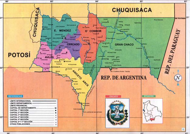 Mapa Político del Departamento de Tarija - Mapas de Bolivia