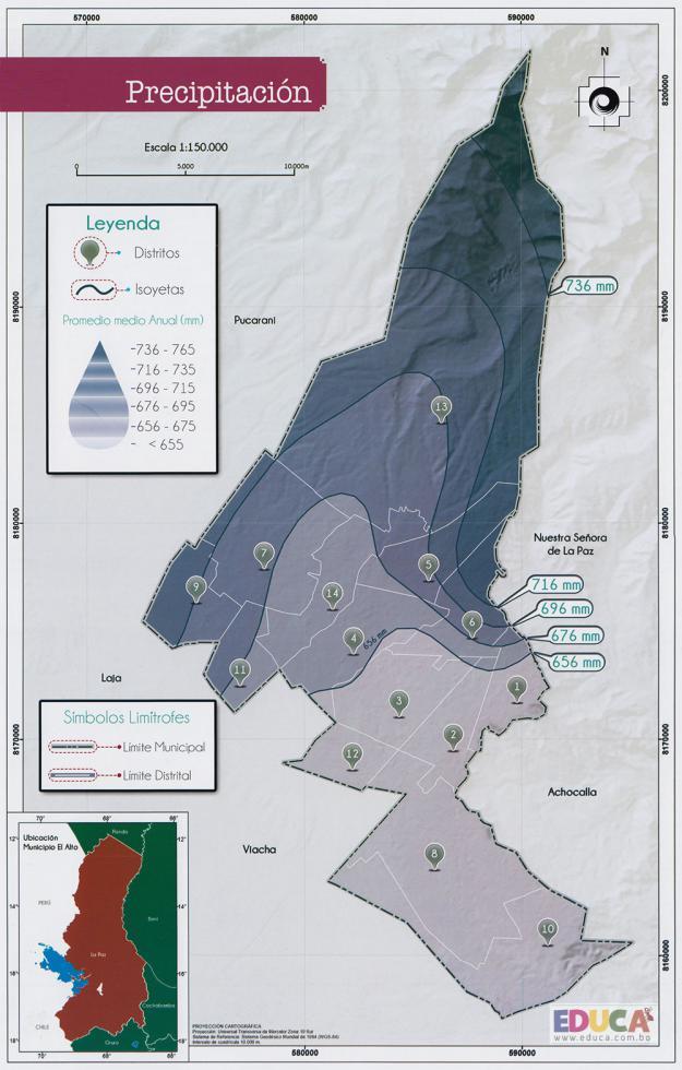 Mapa de Precipitación del Municipio de El Alto - La Paz, Bolivia
