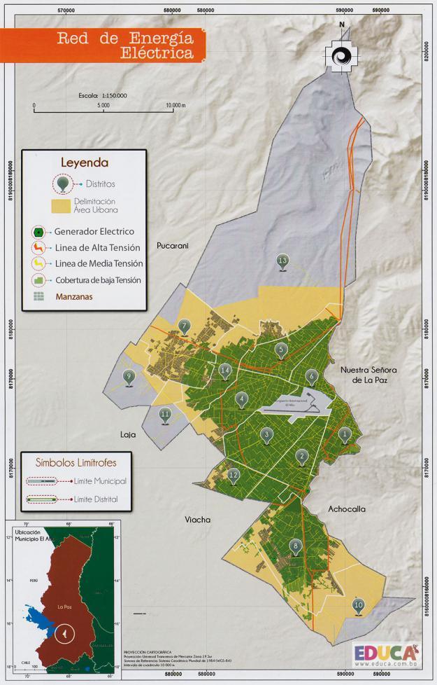 Mapa Red de Energía Eléctrica - Municipio de El Alto - La Paz, Bolivia