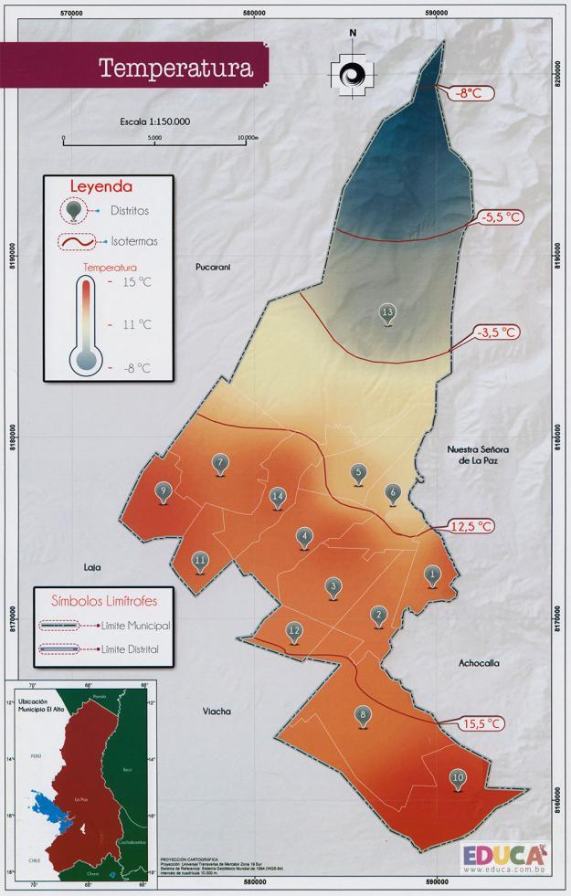 Mapa de Temperatura - Ciudad de El Alto - La Paz, Bolivia