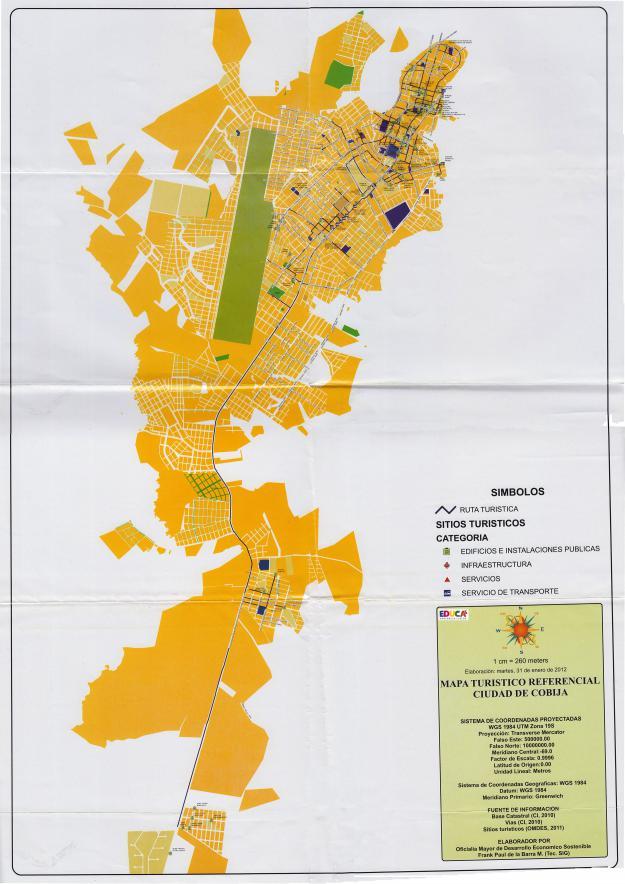 Mapa Turístico de la ciudad de Cobija, Pando - Bolivia