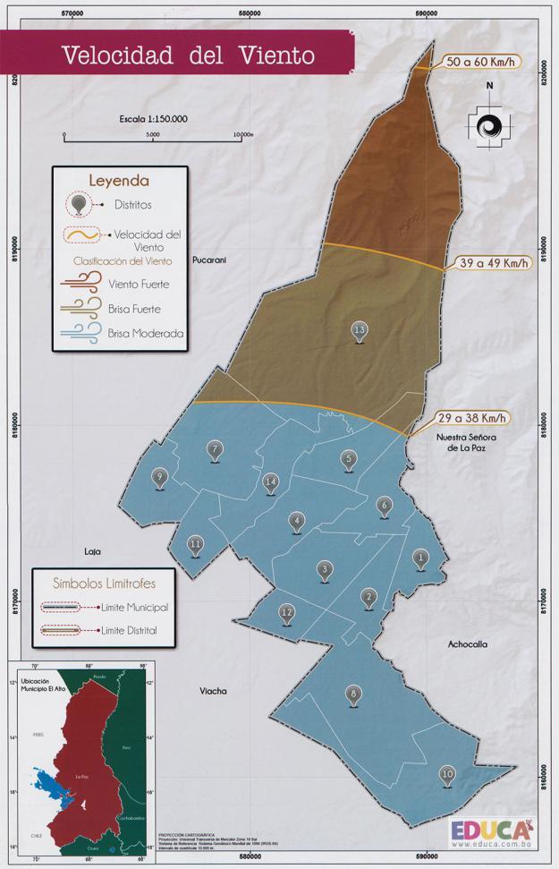 Mapa Velocidad del Viento - Municipio de El Alto - La Paz, Bolivia