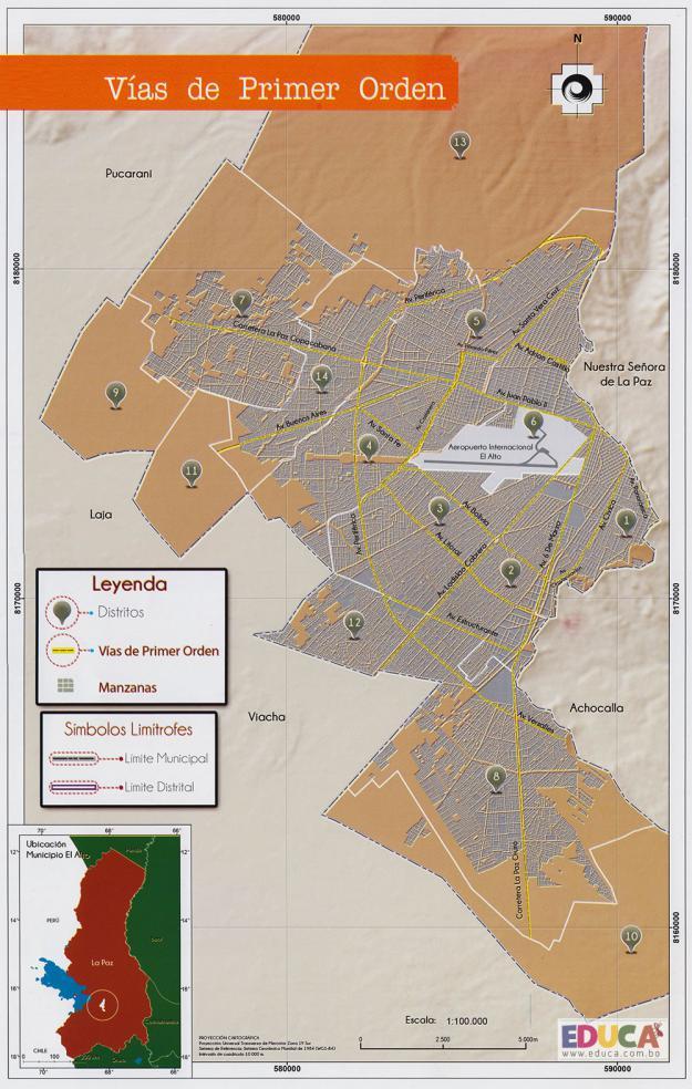 Mapa Vías de Primer Orden - Municipio de El Alto - La Paz, Bolivia
