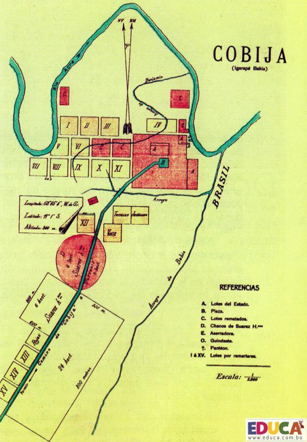 """Cobija, Bolivia - Plano de 1908, Publicado en 1909 """"Arquitectura Urbanismo"""" Del Escritor Hugo Limpias Ortiz"""