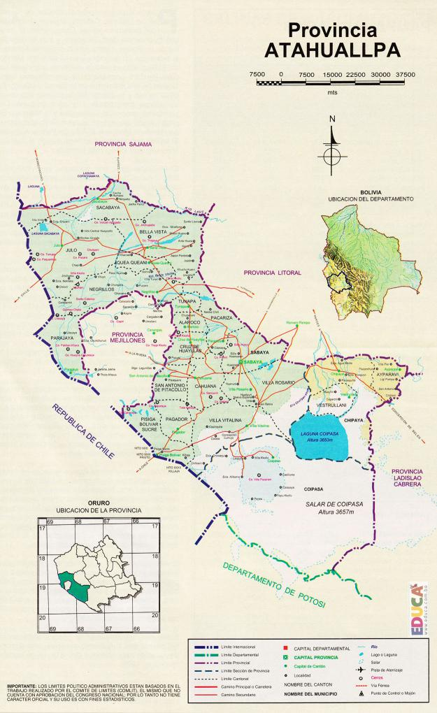 Mapa Provincia Sabaya - Oruro Bolivia