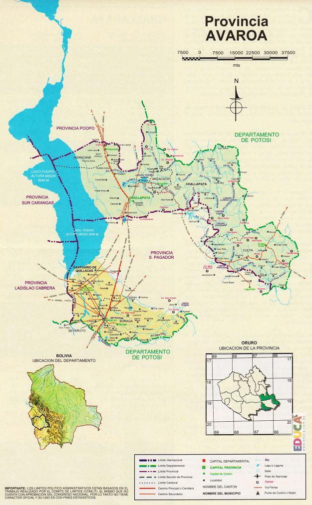 Mapa Provincia Avaroa - Oruro Bolivia