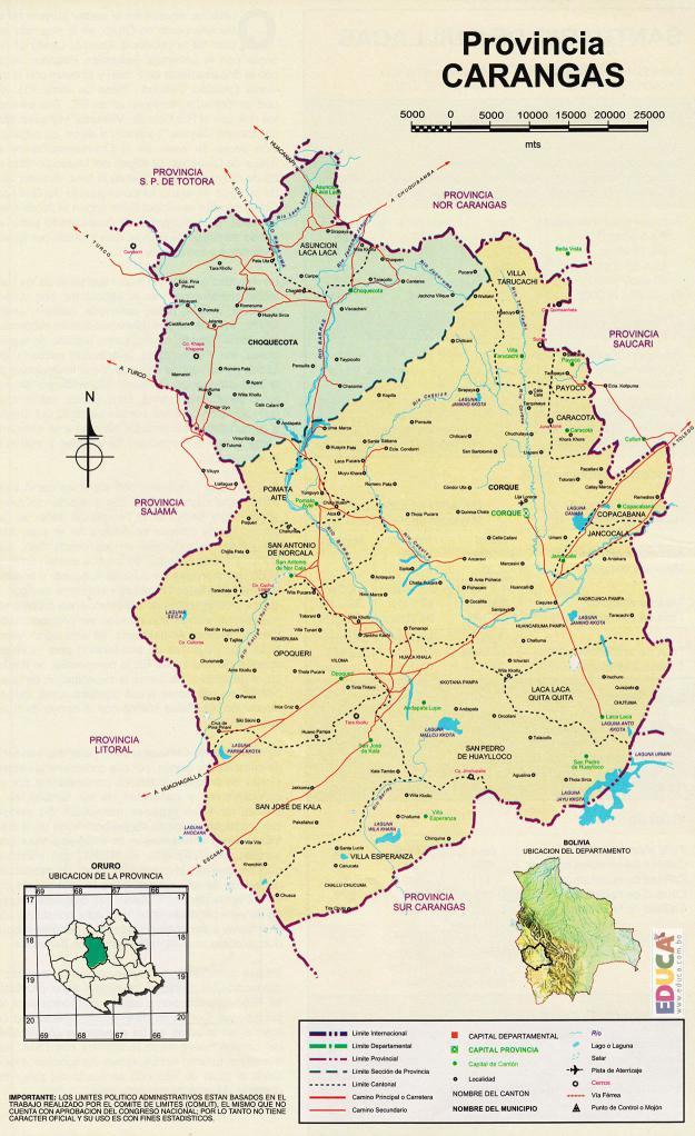 Mapa Provincia Carangas - Oruro Bolivia