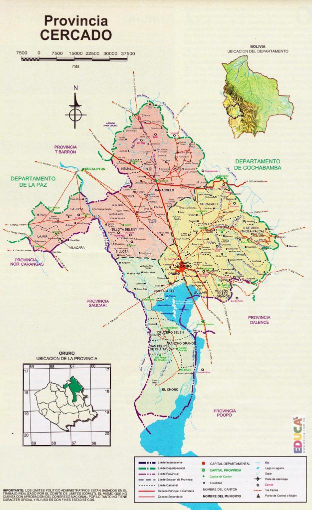 Mapa Provincia Cercado - Oruro Bolivia
