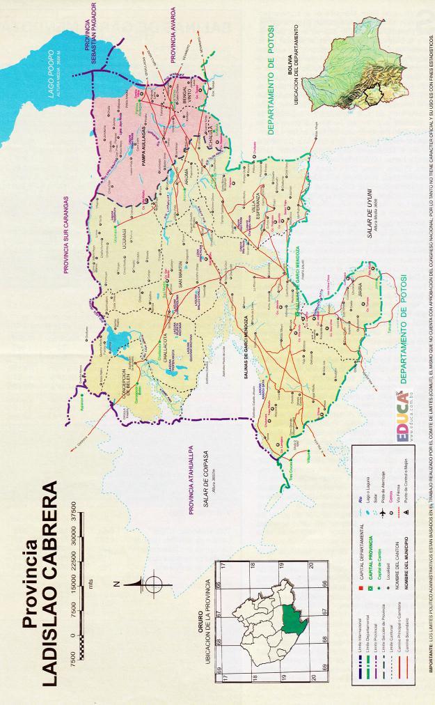 Mapa Provincia Ladislao Cabrera - Oruro Bolivia