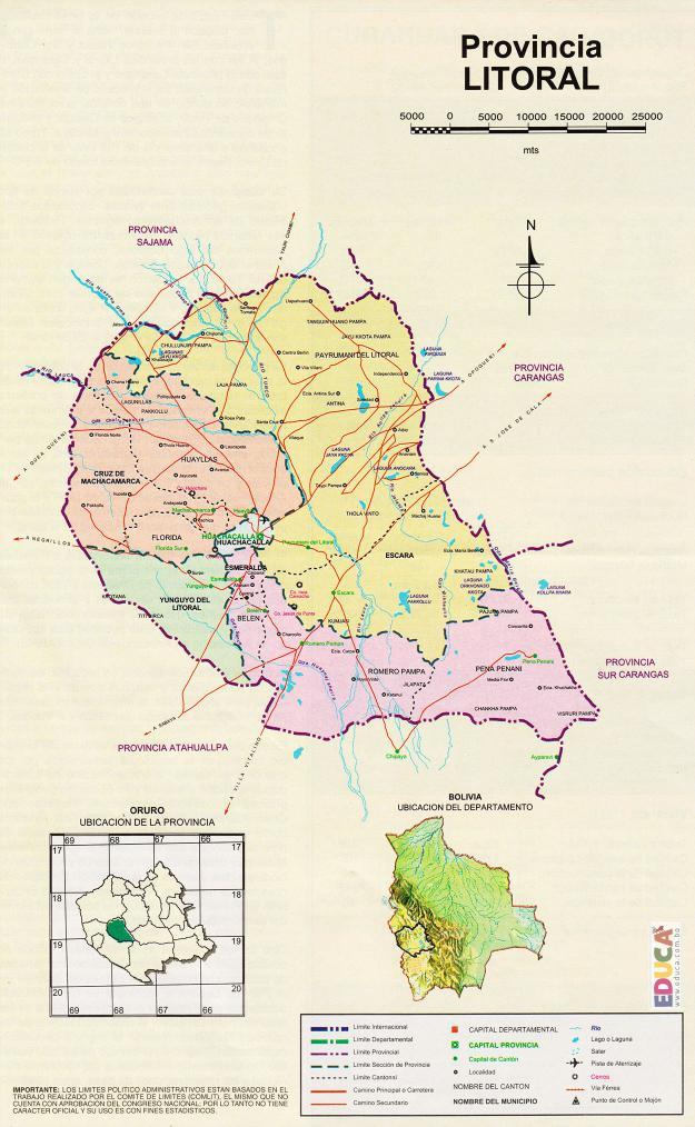Mapa Provincia Litoral - Oruro Bolivia