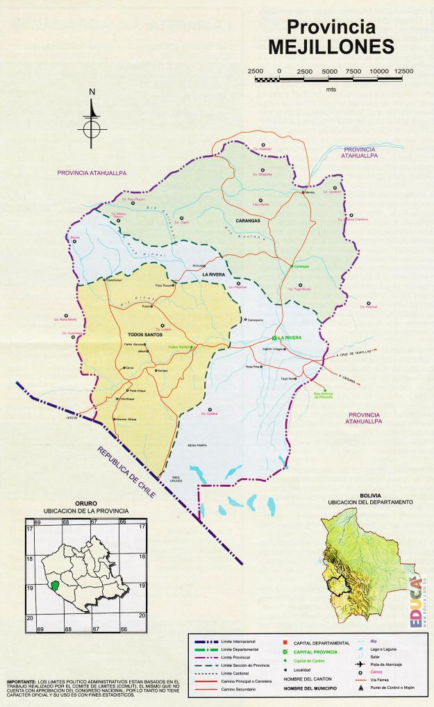 Mapa Provincia Mejillones - Oruro Bolivia