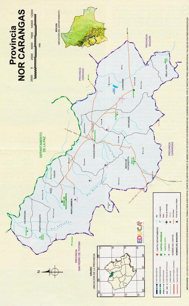 Mapa Provincia Nor Carangas - Oruro Bolivia
