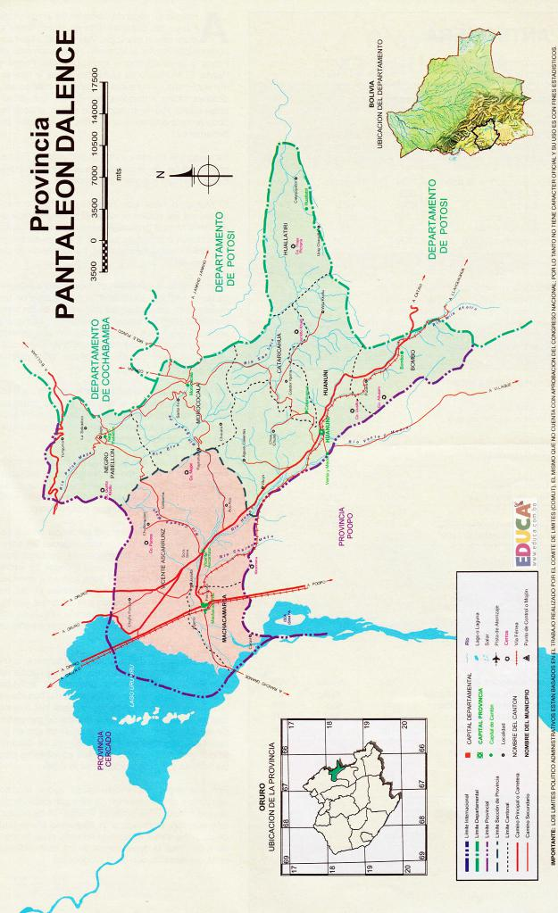 Mapa Provincia Pantaleón Dalence - Oruro Bolivia