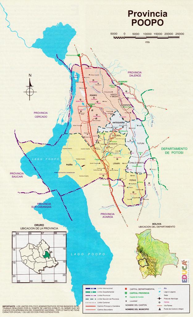 Mapa Provincia Poopó - Oruro Bolivia