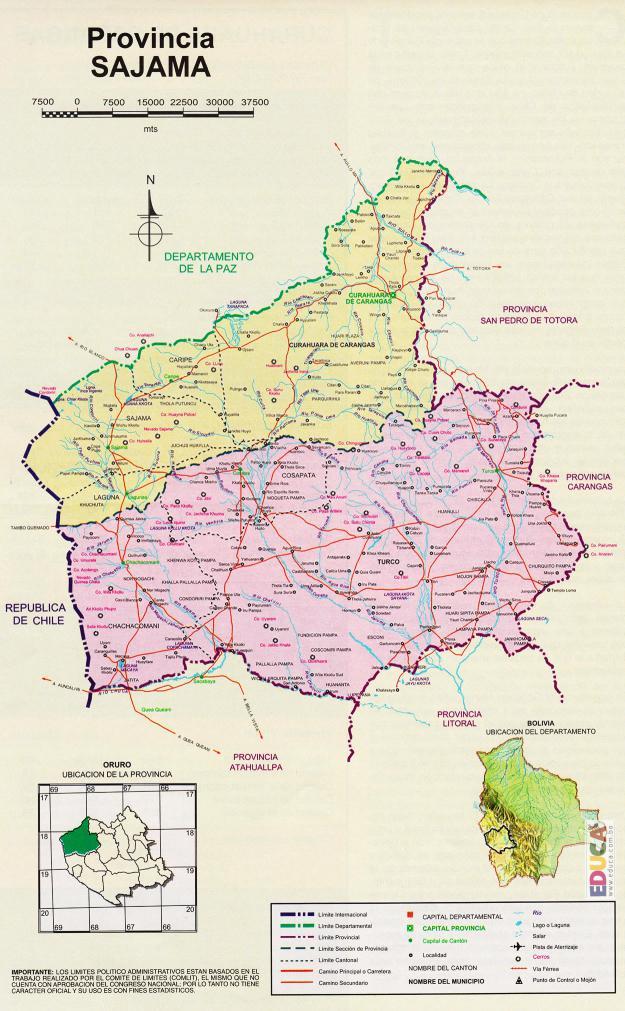 Mapa Provincia Sajama - Oruro Bolivia