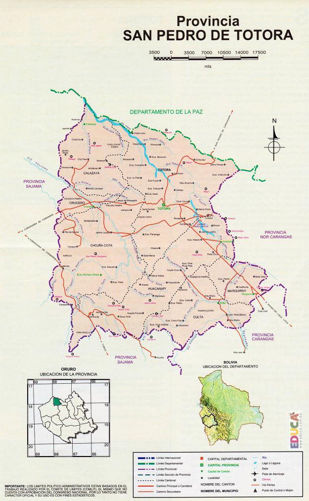 Mapa Provincia San Pedro de Totora - Oruro Bolivia