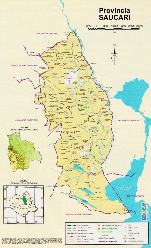 Mapa Provincia Saucarí - Oruro Bolivia