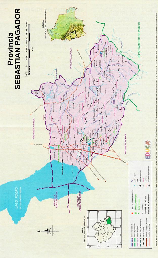 Mapa Provincia Sebastián Pagador - Oruro Bolivia