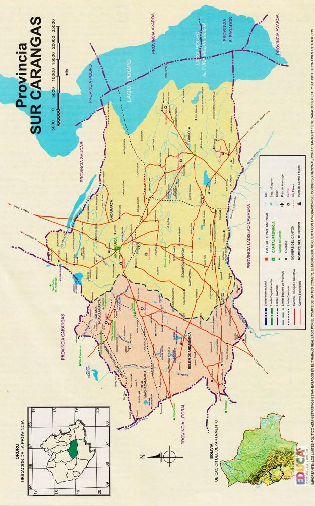 Mapa Provincia Sud Carangas - Oruro Bolivia