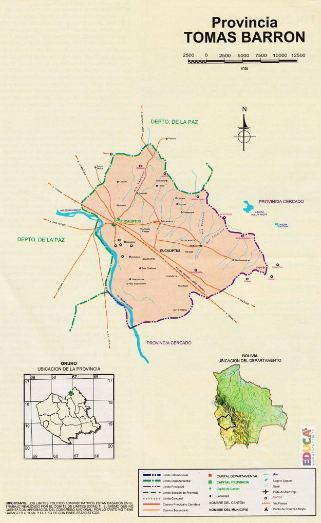 Mapa Provincia Tomás Barrón - Oruro Bolivia
