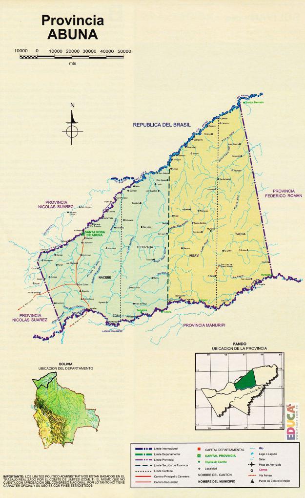 Mapa Provincia Abuná - Pando Bolivia