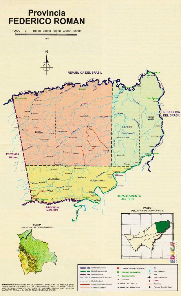Mapa Provincia Gral Federico Román - Pando Bolivia