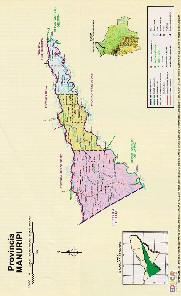 Mapa Provincia Manuripi - Pando Bolivia