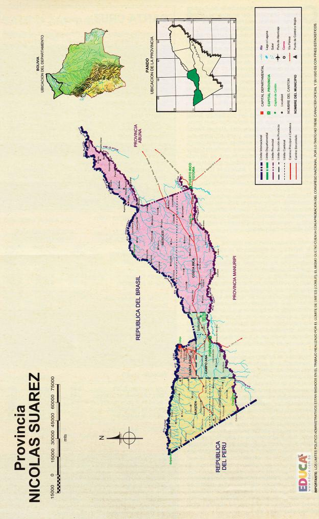 Mapa Provincia Nicolás Suárez - Pando Bolivia