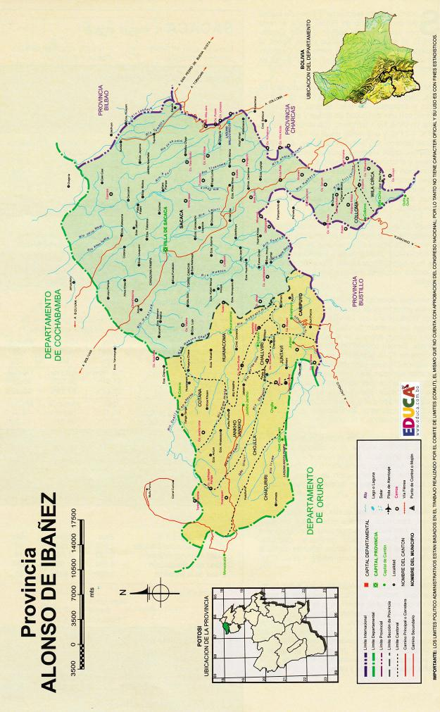 Mapa Provincia Alonso de Ibáñez - Potosí Bolivia