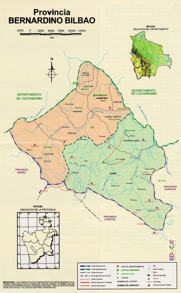 Mapa Provincia Bernardino Bilbao - Potosí Bolivia