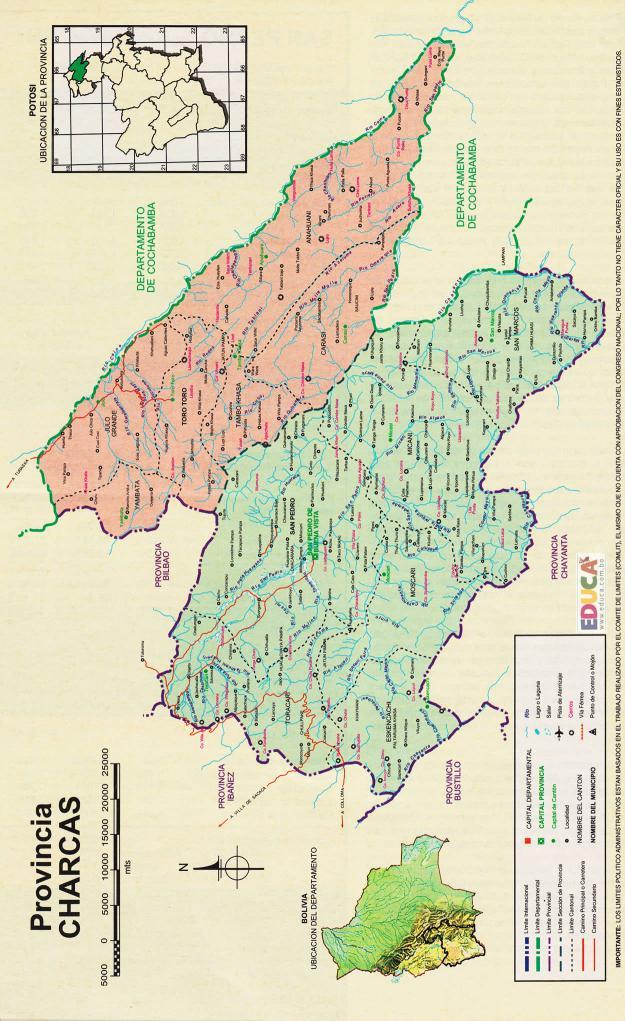 Mapa Provincia Charcas - Potosí Bolivia