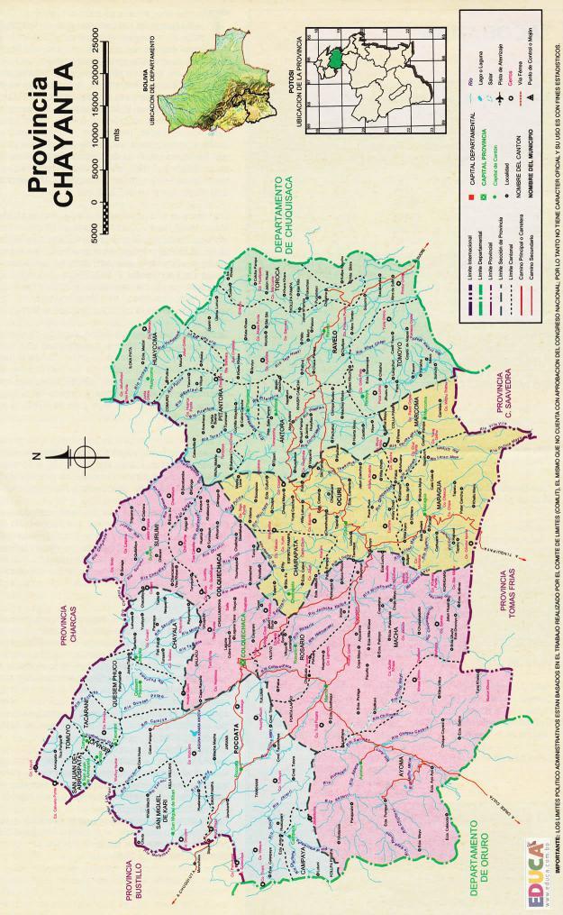 Mapa Provincia Chayanta - Potosí Bolivia