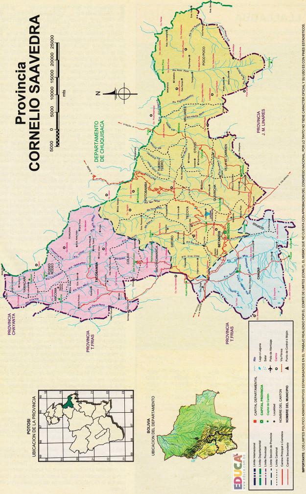 Mapa Provincia Cornelio Saavedra - Potosí Bolivia