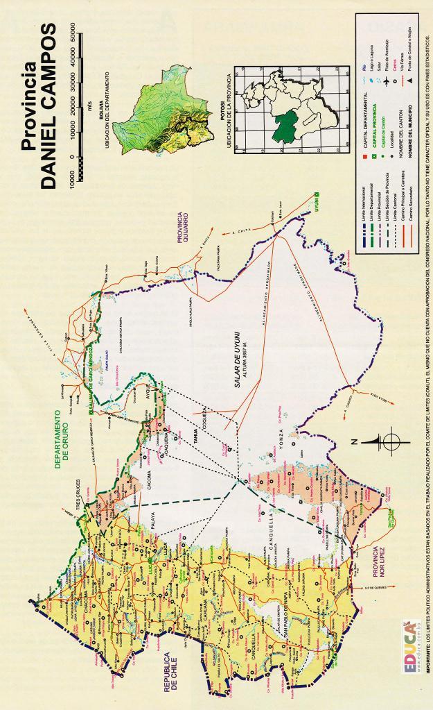 Mapa Provincia Daniel Campos - Potosí Bolivia