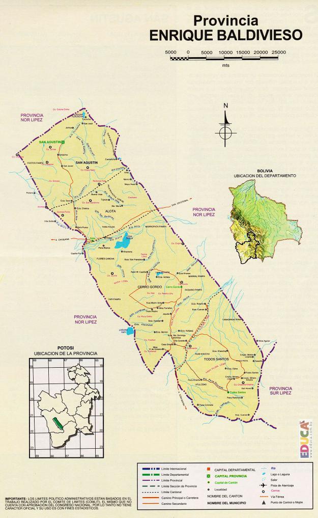 Mapa Provincia Enrique Baldivieso - Potosí Bolivia