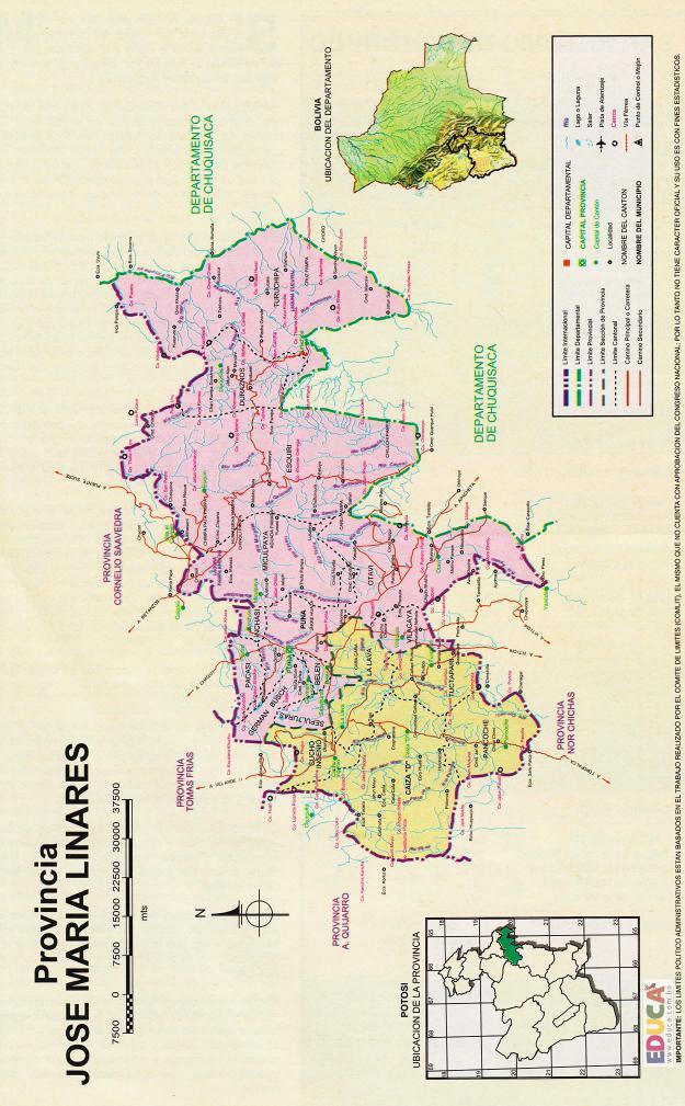 Mapa Provincia José María Linares - Potosí Bolivia