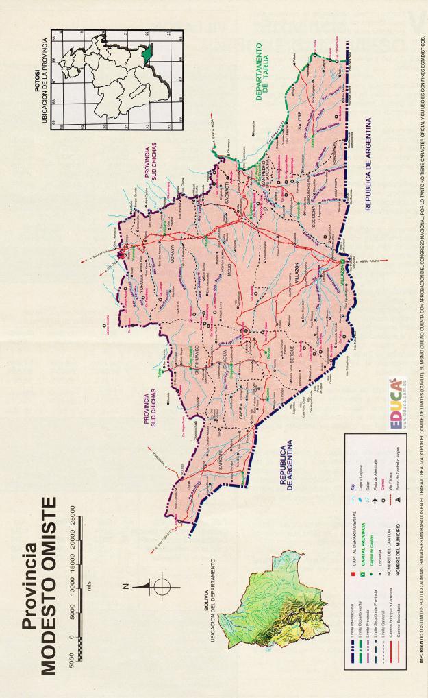 Mapa Provincia Modesto Omiste - Potosí Bolivia