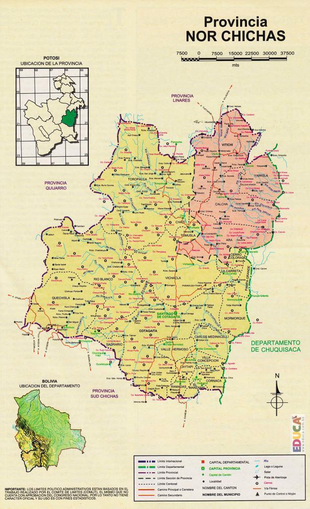 Mapa Provincia Nor Chichas - Potosí Bolivia