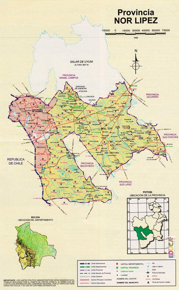 Mapa Provincia Nor Lípez - Potosí Bolivia