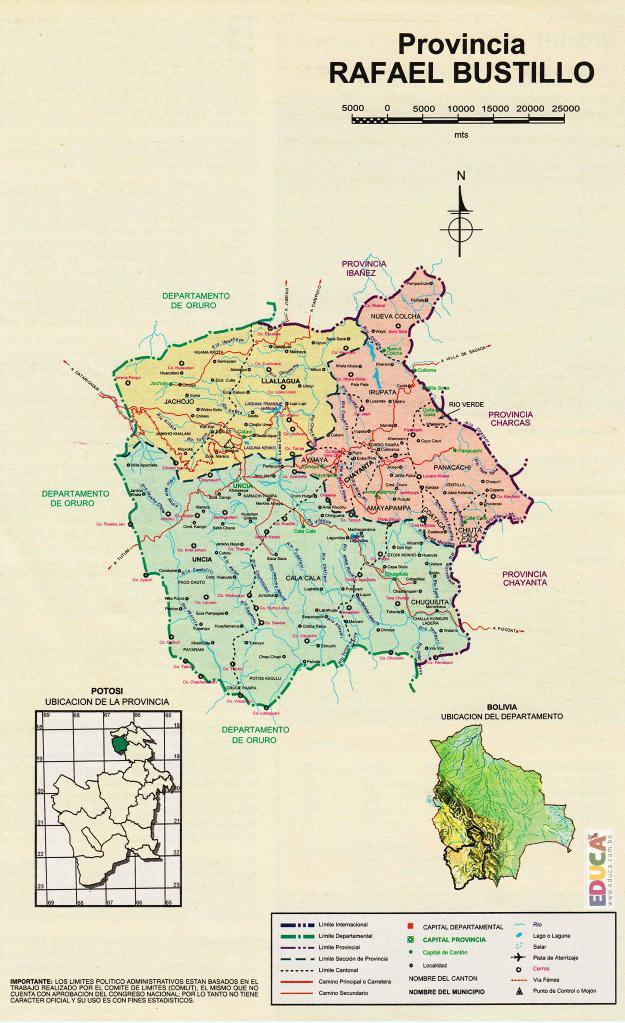 Mapa Provincia Rafael Bustillo - Potosí Bolivia
