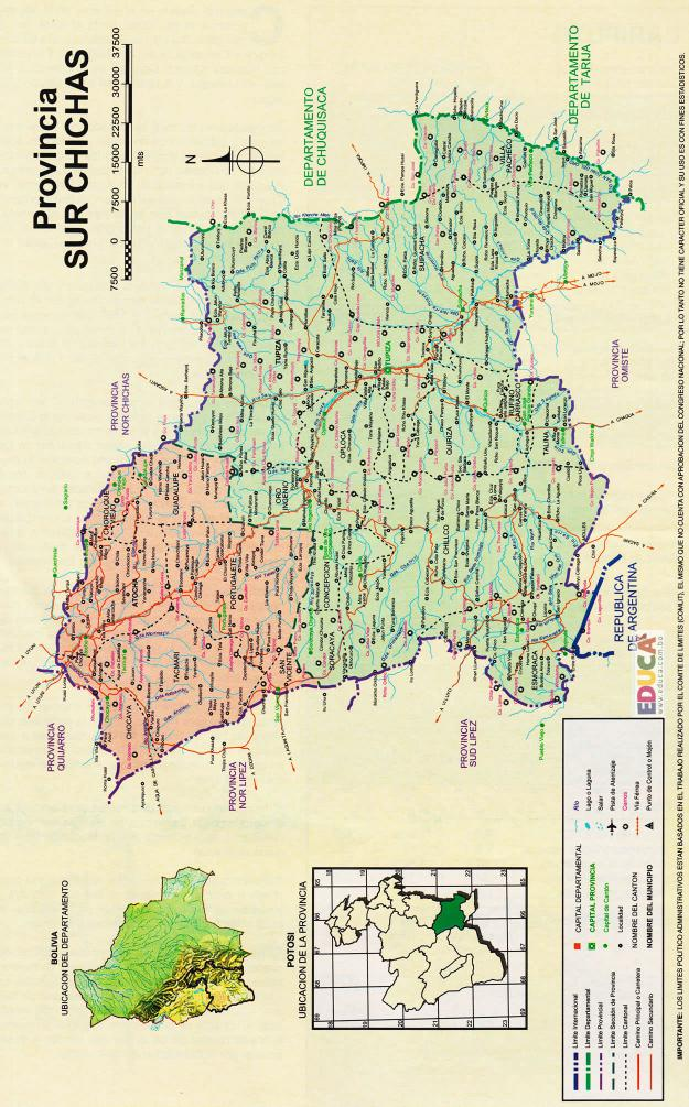 Mapa Provincia Sur Chichas - Potosí Bolivia