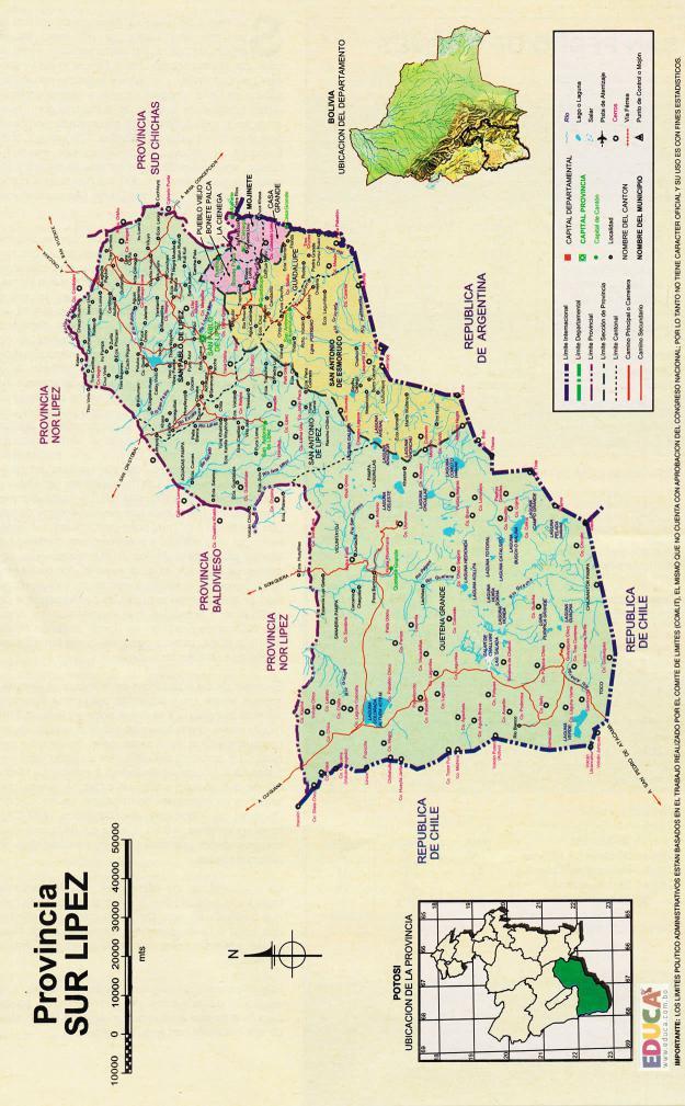 Mapa Provincia de Sur Lípez - Potosí Bolivia