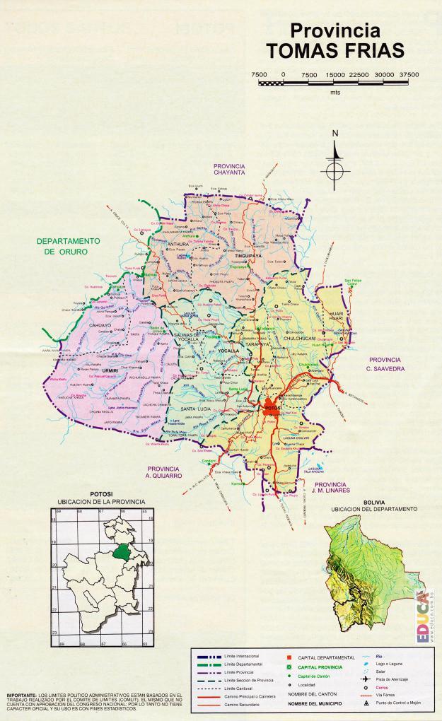 Mapa Provincia Tomás Frías - Potosí Bolivia