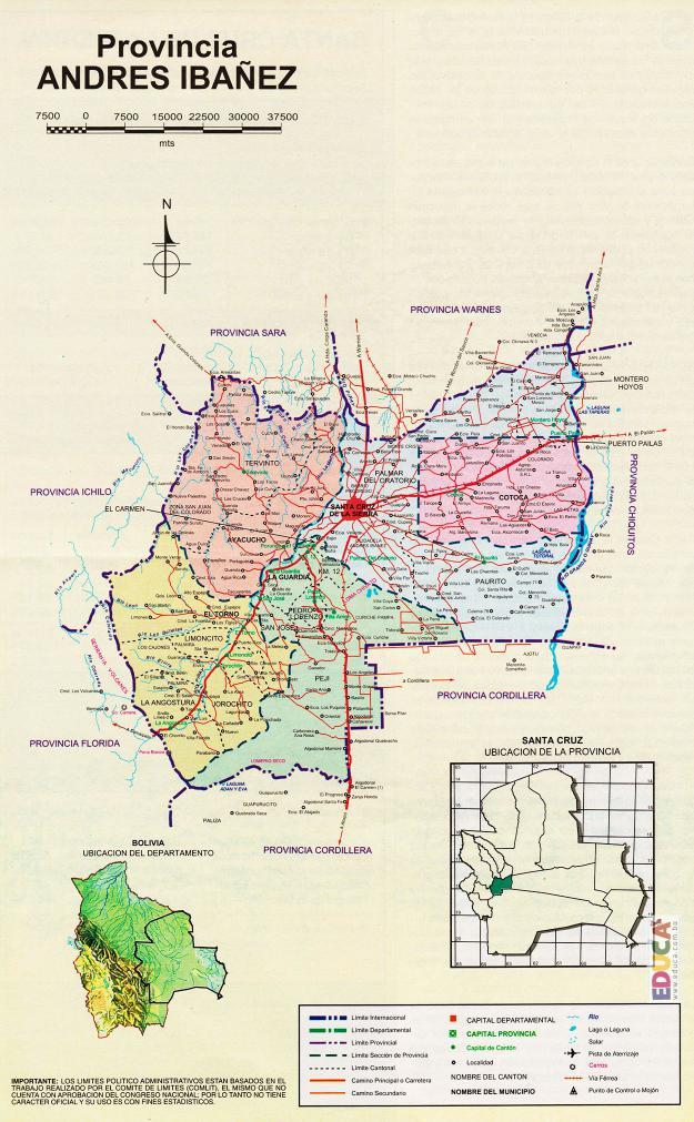 Mapa Provincia Andrés Ibáñez - Santa Cruz Bolivia