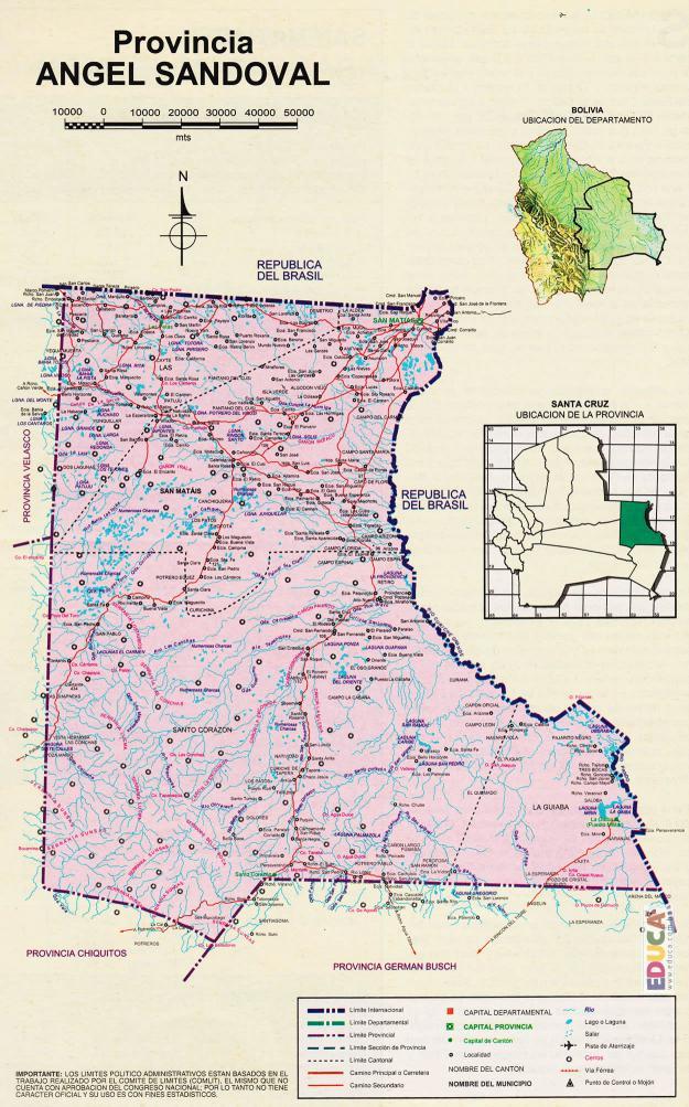 Mapa Provincia Ángel Sandóval - Santa Cruz Bolivia